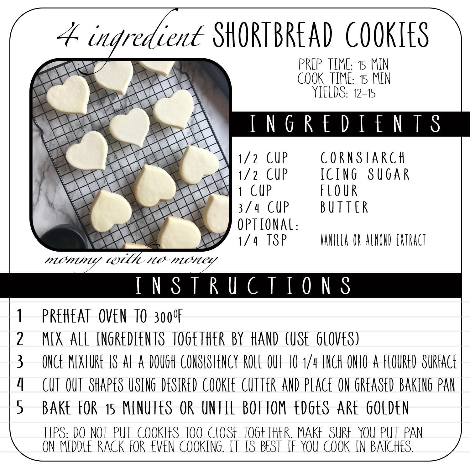4 Ingredient 4 Shortbread Cookie Recipe on Mommy with No Money