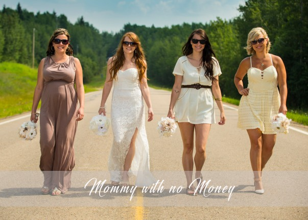 Perlinski Wedding-Bridesmaids with mismatching dresses and fabric flower bouquets