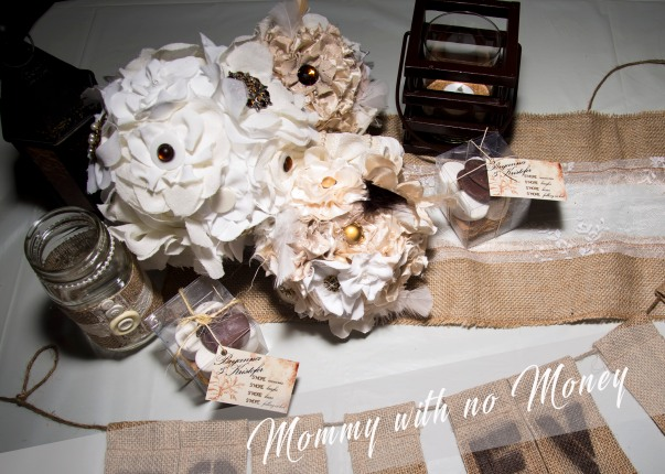 Perlinski Wedding-Fabric Flower Bouquets-DIY with a kitchen whisk-styrofoam ball and fabric flowers